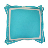 Linen Turquoise/Natural Twill Tape Pillow, 20 in square