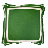 Linen Kelly Green/Natural Twill Tape Pillow, 20 in square