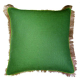 Linen with Jute Fringe Kelly Green Linen/Lime Pipe Pillow, 24 in square