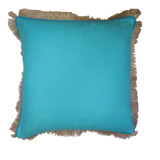 Linen with Jute Fringe Turquoise Linen/Mediterranean Blue Pipe Pillow, 24 in square