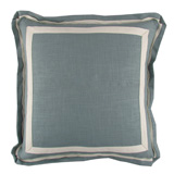 Linen Aquamarine/Natural Twill Tape Pillow, 20 in square