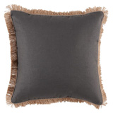 Linen with Jute Fringe Grey Linen/Natural Linen Pipe Pillow, 24 in square