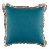 Linen with Jute Fringe Plasma Linen/Eggshell Pipe Pillow, 24 in square