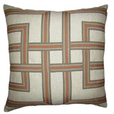 Lattice Tangerine/Heavy Basket Pillow, 22 in square