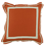 Linen Mandarin/Natural Twill Tape Pillow, 20 in square