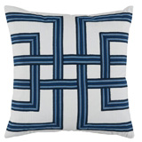 Lattice Harbor/White Flax Pillow, 22 in square