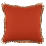 Linen with Jute Fringe Mandarin Linen/Natural Pipe Pillow, 24 in square