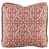Imperial Coral/Charcoal Velvet Pillow, 24 in square