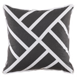 Chippendale Grey Linen/White Twill Tape Pillow, 22 in square