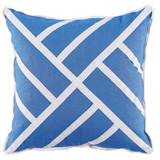 Chippendale Royal Blue Linen/White Twill Tape Pillow, 22 in square