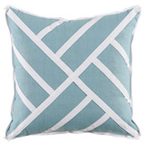 Chippendale Ice Linen/White Twill Tape Pillow, 22 in square