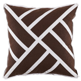 Chippendale Java Linen/White Twill Tape Pillow, 22 in square