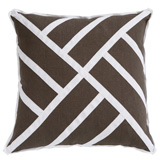 Chippendale Mud Linen/White Twill Tape Pillow, 22 in square