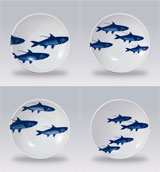 School of Fish Blue 4 in Dip Dishes Boxed Set/4 | Gracious Style