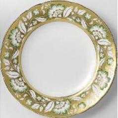 Accent Derby Panel Green Gold Plate in Gift Box 8 in Round | Gracious Style