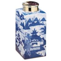 Blue Canton Tea Jar & Brass Lid | Gracious Style