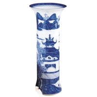 Blue Canton Trumpet Vase | Gracious Style