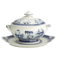 Blue Canton Oval Tureen & Std | Gracious Style