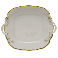 Gwendolyn Square Cake Plate W/Handles 9.5