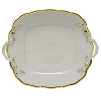 Gwendolyn Square Cake Plate W/Handles 9.5