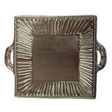 Incanto Metallic Stripe Square Handled Platter | Gracious Style
