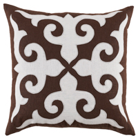 Mosaic Applique Java/Oyster Linen Pillow, 22 in square