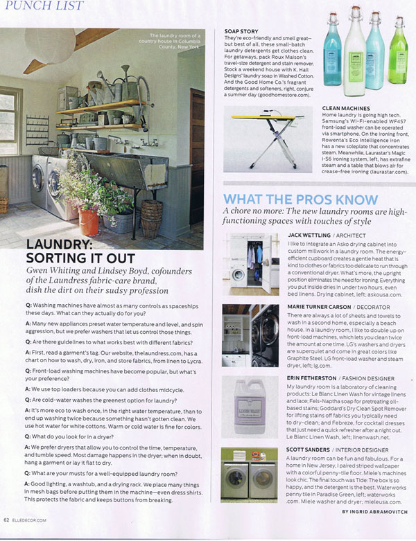 The laundress and leblanc clean up in elle decor for Elle decoration bed linen