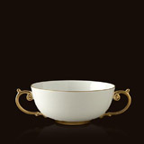Aegean 24kt Gold Soup Bowl with 2 Handles | Gracious Style