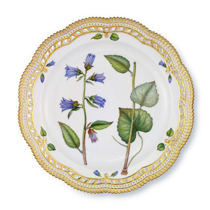 Flora Danica Dinner Plate with Perforated Edge