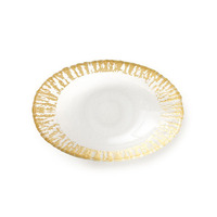Rufolo Glass Gold Medium Oval Serving Bowl | Gracious Style