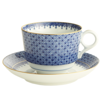 Blue Lace Tea Cup & Saucer 3.5 in | Gracious Style