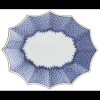Large Blue 12-Sided Lobed Tray | Gracious Style