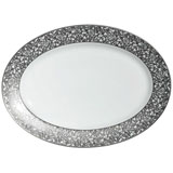 Salamanque Platinum Oval Platter 16.5 in | Gracious Style