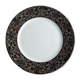 Salamanque Platinum & Black Salad Plate 7.75 in Round   Gracious Style