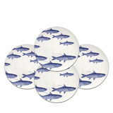 School of Fish Blue 8.5 in Dessert Plates Boxed Set/4 | Gracious Style