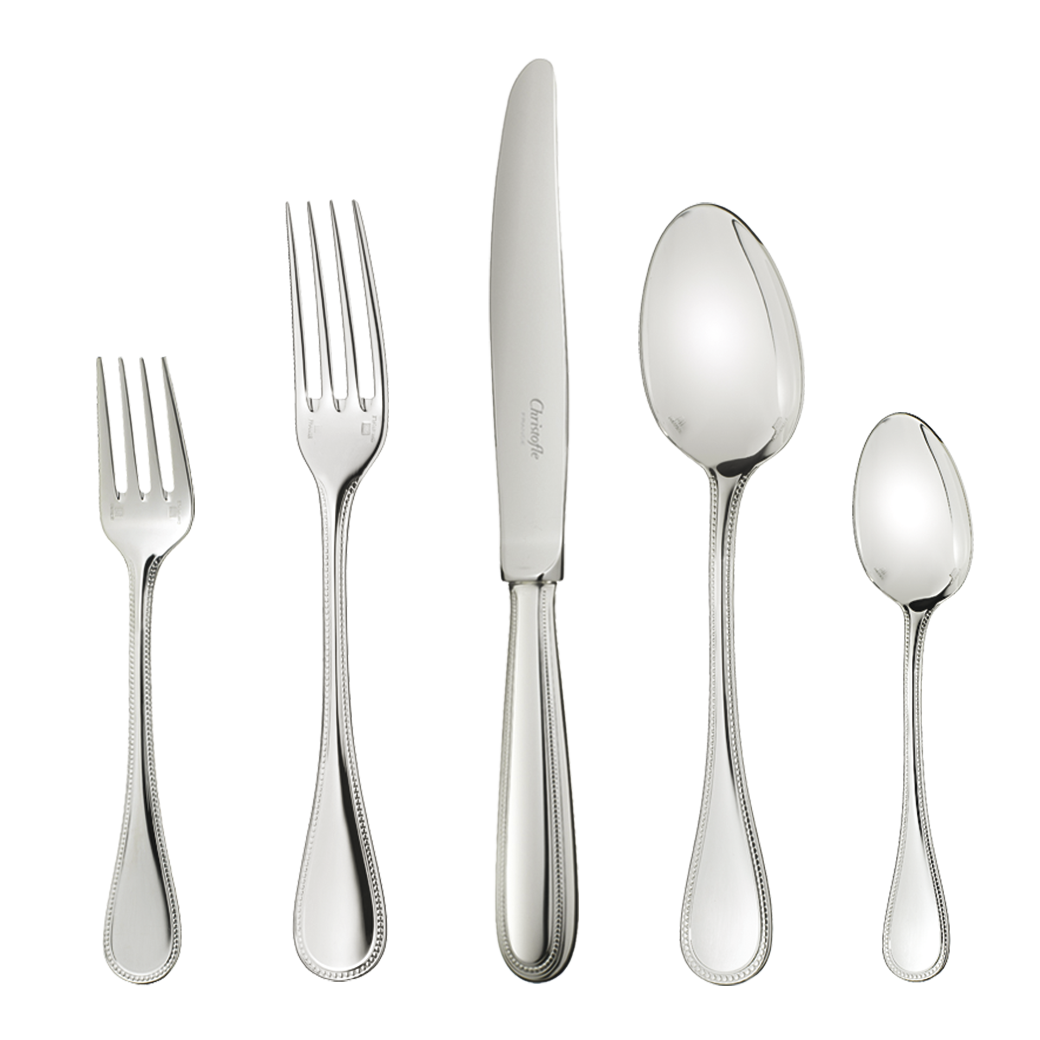 Perles 2 Stainless Steel 5 Piece Place Setting for 1 person (1 x Dinner  sc 1 st  Gracious Style & Christofle Perles Stainless Flatware   Gracious Style