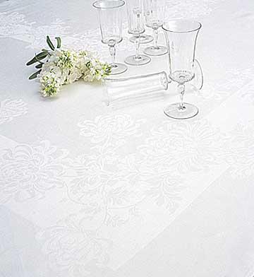 Chrysanthemum Linen Damask Tablecloth