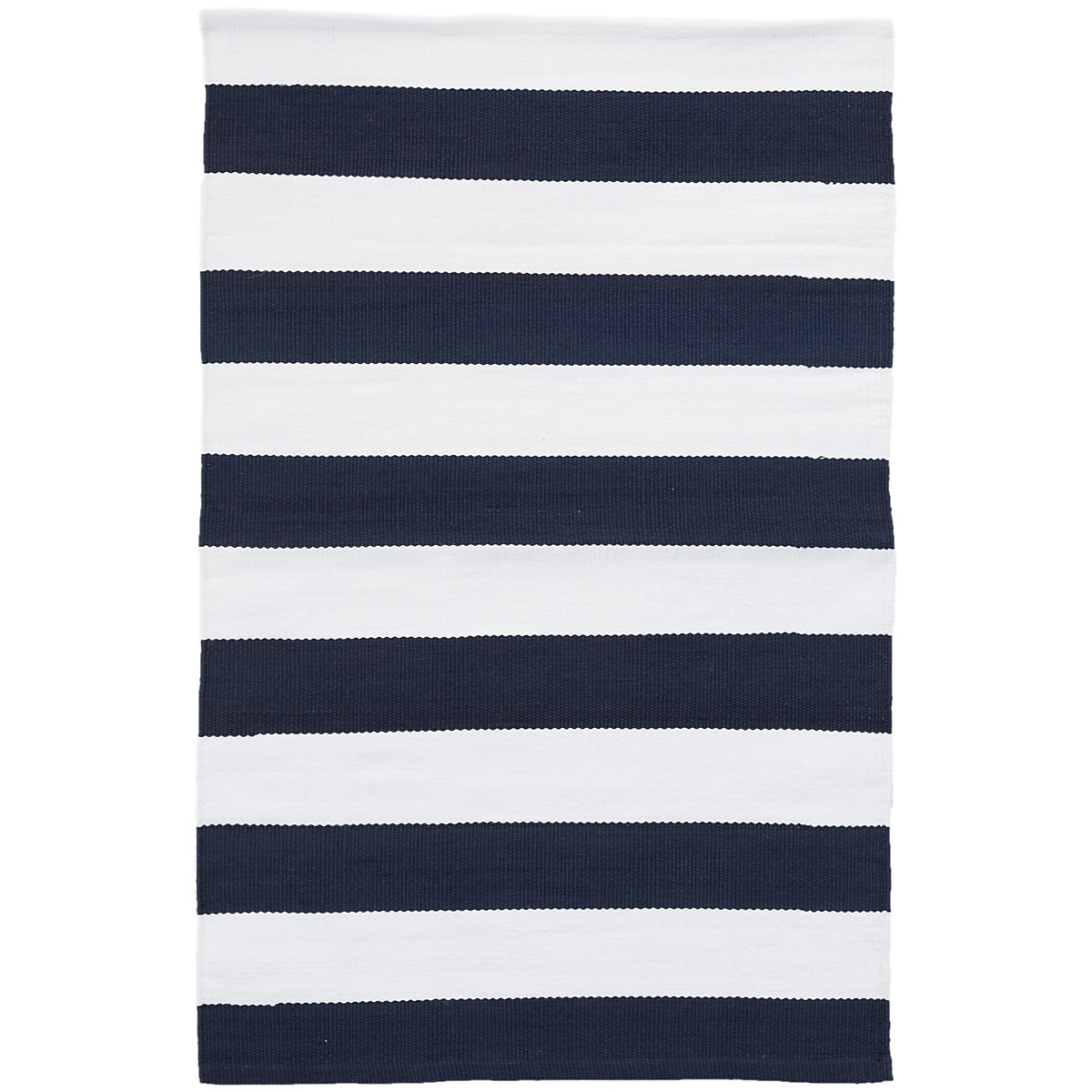 Catamaran Stripe Navy White Indoor Outdoor Rug 5x8