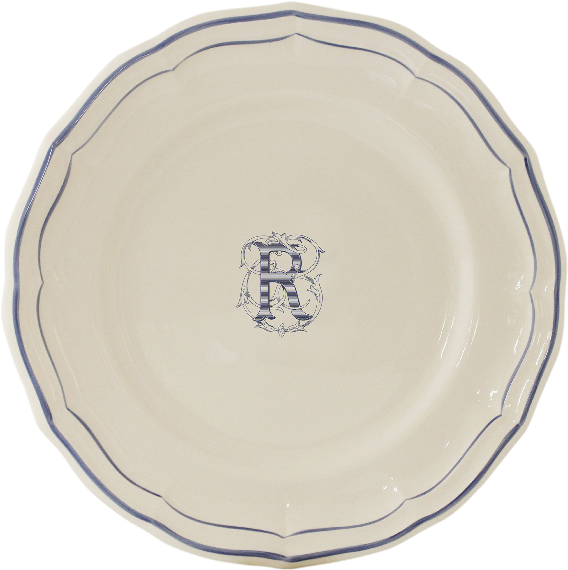 Filet Bleu Monogram Canape Plate 6.5 in. Diameter  sc 1 st  Gracious Style & Gien France Filet Bleu Monogram Dinnerware | Gracious Style