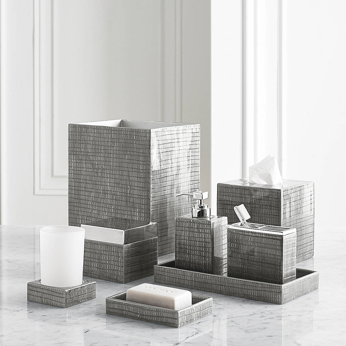Kassatex Delano Grey Bath Accessories | Gracious Style