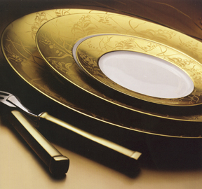 Khazard Gold Porcelain Dinnerware J.L. Coquet | Gracious Style :  dinnerware fine china handcrafted porcelain
