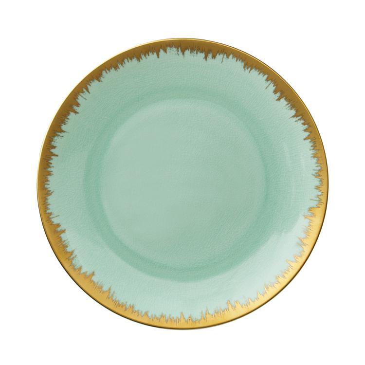 Aura Sea Glass Charger 12.25 in with Gold Brushstroke  sc 1 st  Gracious Style & Kim Seybert Inc. Aura Sea Glass Dinnerware with Gold Brushstrokes ...