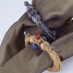 Moroccan Enamel Napkins Rings Gift | Gracious Style :  napkin ring work of art gold tabletop