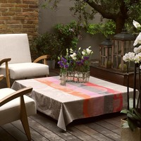 Fleurs Gourmandes Beige Coated Tablecloth Rect 69 x 126 in | Gracious Style