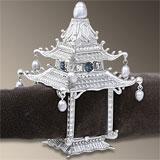 Pagoda Platinum Napkin Rings