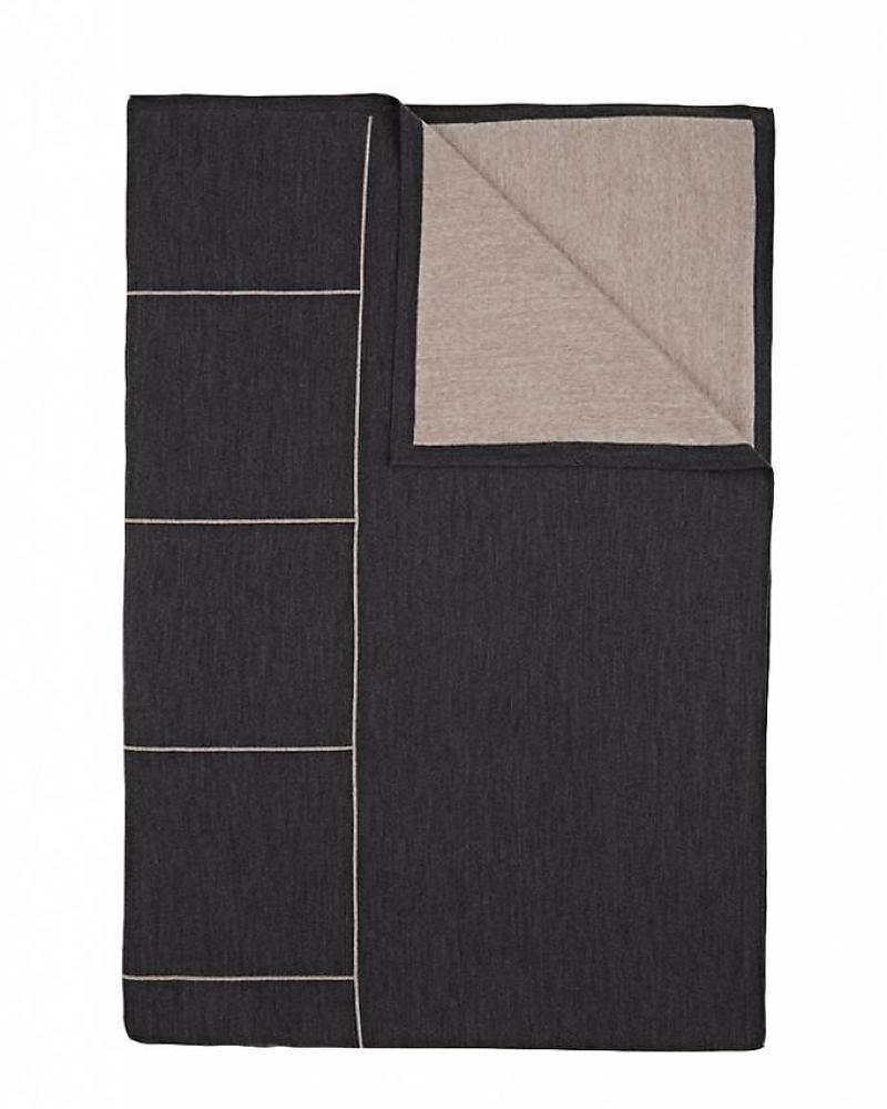 Rani Arabella Cortina Squares Cashmere Blend 50 x 72 in Throw Charcoa