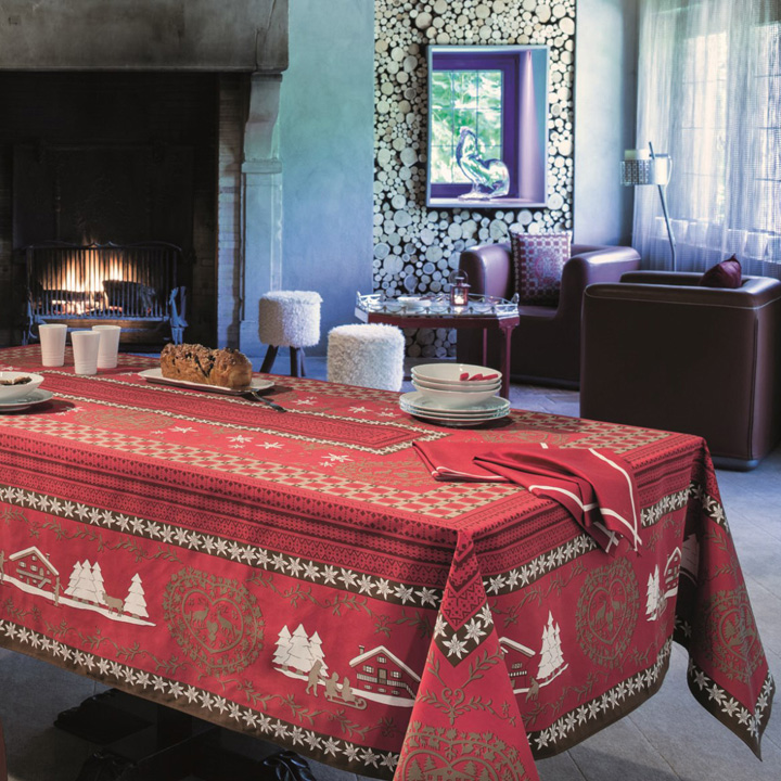 Beauville Cortina Red Print Table Linens