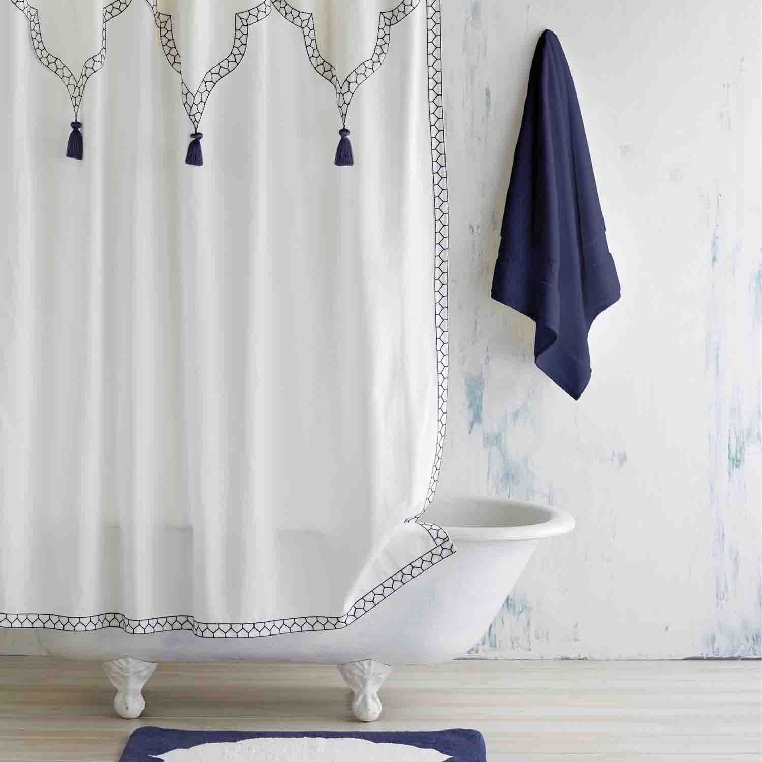 John Robshaw Iswar White Indigo Shower Curtain 72