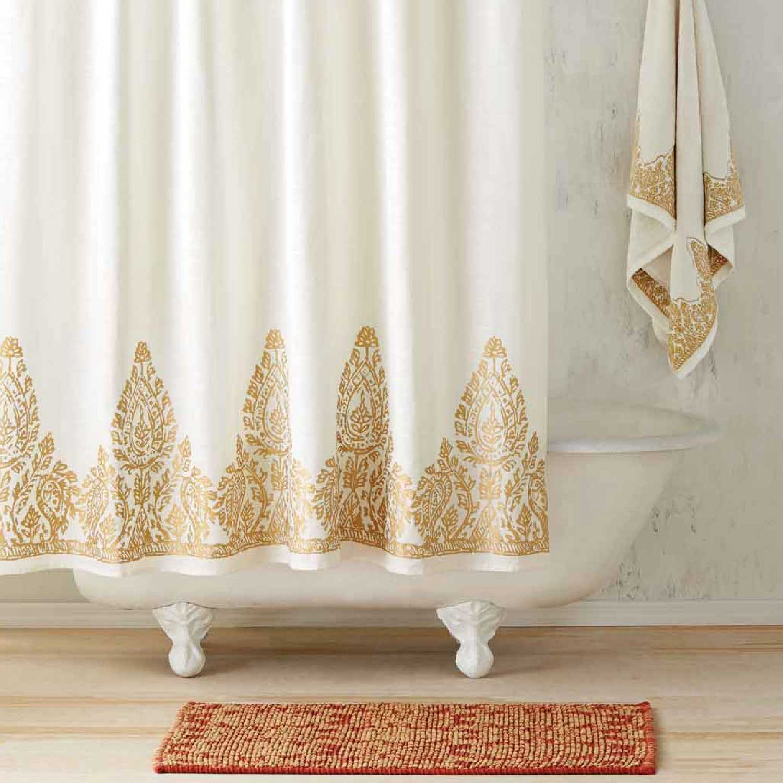 John Robshaw Nadir Pearl White Gold Shower Curtain Gracious Style