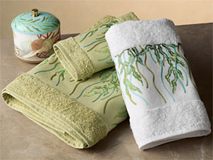 Seagrass Embroidered Towels | Gracious Style